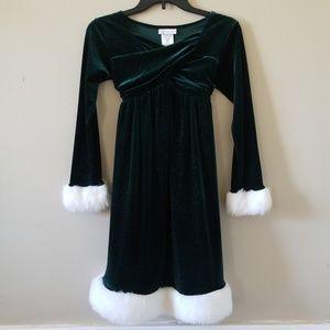 Bonnie Jean Green Velvet Shimmer Christmas Dress